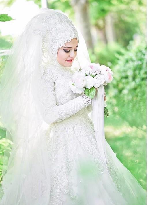 بالصور صور عروسات محجبات , اجمل صورة للعرايس المرتديه حجاب 4644 4
