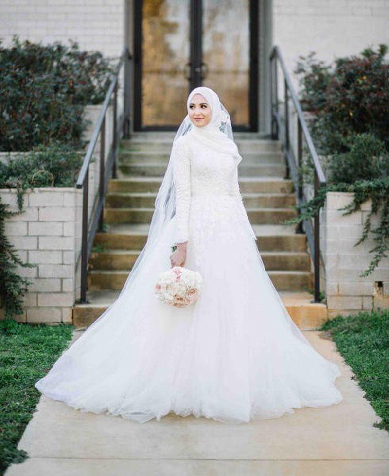 صورة فساتين اعراس للمحجبات , اجمل فساتين زفاف للمحجبات