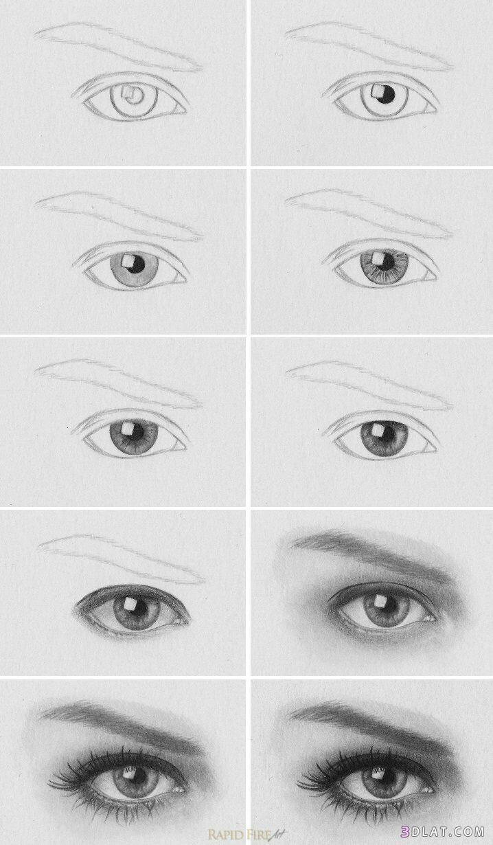 صورة طريقة رسم العين بالصور , صور رسومات بسيطة للعين