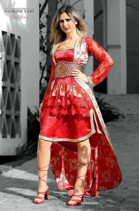 صورة قفطان عصري قصير , قفاطين نساء مغربية روعة جدا