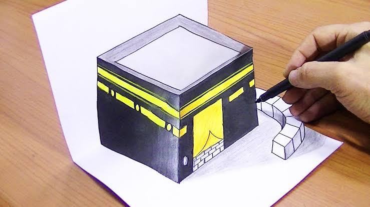 صورة طريقة رسم الكعبة , كيف ارسم الكعبة