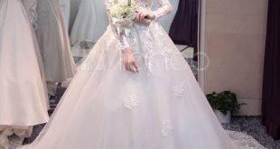 صورة فساتين زفاف دانتيل كم طويل , شاهدي اجمل فساتين زفاف دانتيل