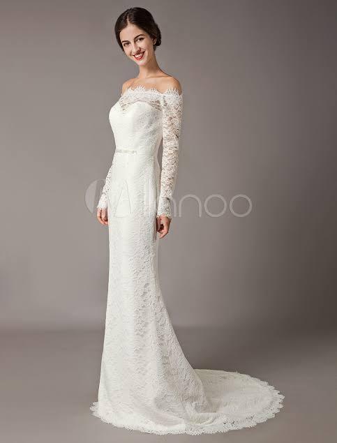 صورة فساتين زفاف دانتيل كم طويل , شاهدي اجمل فساتين زفاف دانتيل 10392 8