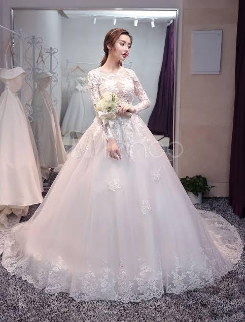 صورة فساتين زفاف دانتيل كم طويل , شاهدي اجمل فساتين زفاف دانتيل 10392