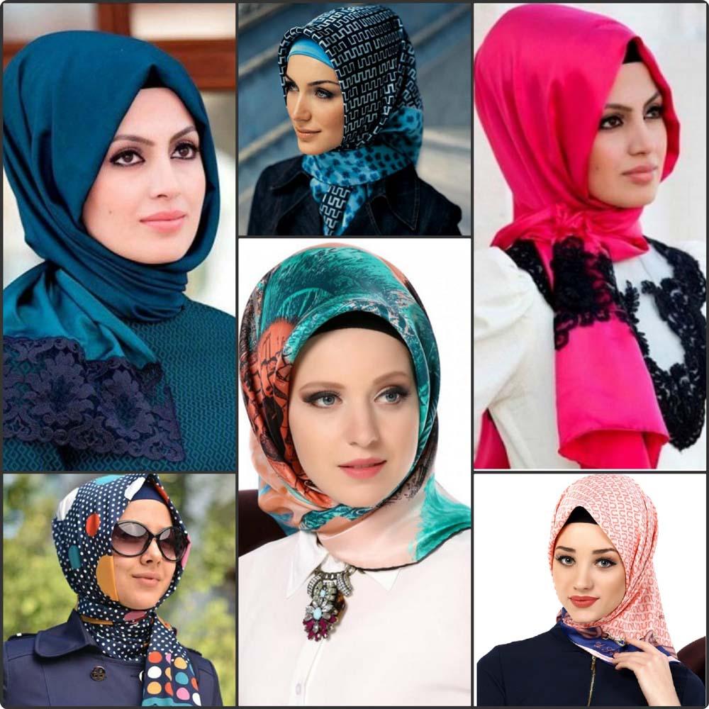 صورة طريقة لف الحجاب للوجه الطويل , لفات سريعة جدا