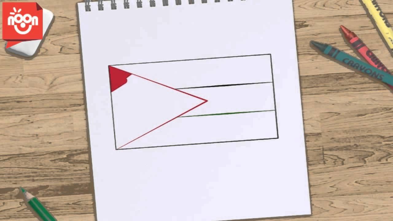 صورة علم فلسطين للتلوين , علمي طفلك التلوين