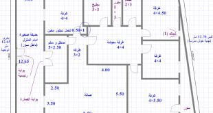 صورة رسم هندسى لمنزل 130 متر , صمم منزلك بنفسك